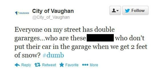 city of vaughan deactivates twitter account after vulgar snowstorm rant posted - toronto headlines